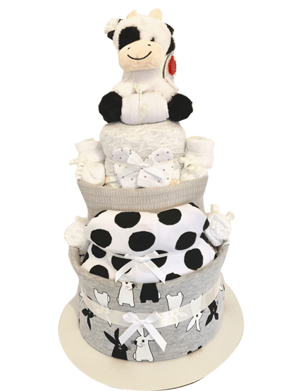 Neutral Grey White 3 Tier Nappy Cake The Nappy