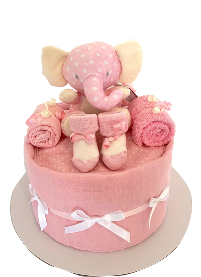 1 Tier Nappy Cake (Baby Girl)