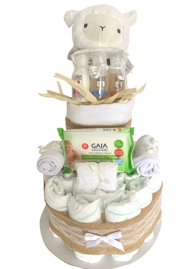 2 Tier 'lace' Nappy Cake – Neutral