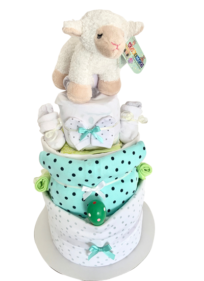Pleasant Neutralgreen Mint 3 Tier Nappy Cake The Nappy Cakes And Funny Birthday Cards Online Alyptdamsfinfo