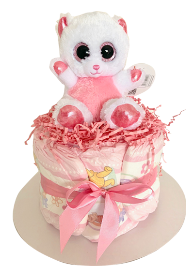 Small Nappy Cake (Baby Girl)