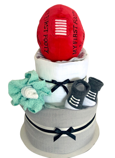 2 Tier Footy Nappy Cake