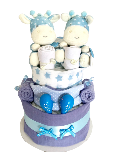 Baby Boy Twins – 2 Tier Nappy Cake